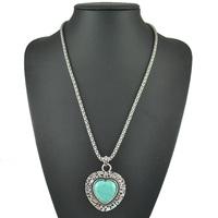 Fashion Jewelry Wholesale New 2015 Tibetan Vintage Bohemia Turquoise Bead Stone Silver Long Heart Pendant Necklace For Women