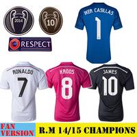 Real Madrid UEFA Champions League 2015 Jersey Real Madrid Soccer Jersey 14 15 Camisetas Futbol Third 3rd Black Away Pink Goalie