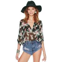 Women Blouses 2015 new arrive summer western retro print women clothing chiffon causual shirts long Irregular on stock 1383