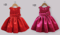 1-St Free shipping summer dress 2014 New girls clothing  frozen Dress For Girl Princess Dresses party costume 5pcs/lot
