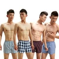 5 Pcs/lot 2014 Winter Plaid 100% Cotton Men'S Woven/Knitted Underwear Men Boxers Shorts Loose Underpants Good Quality Size XXXL