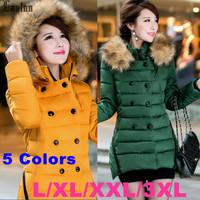 Lanluu New 2014 Big Fur Hooded Female Winter Parkas Hot Slim Womens Long Cotton Down Coats SQ1058