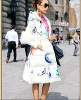 2015 Newest Women Floral Slim Down Parkas White Duck Down Filler Coat Women Down coat Natural Fur Sleeve Down Jakcet