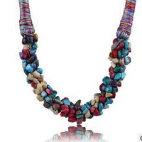 Fashion Handmade Jewelry Multicolor Irregular Turquoise With Gravel wholesale Trendy Fine Necklace For Ladies, Item no.: MD024