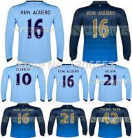 Free Shipping 2015 Manchester Dzeko Aguero long sleeve Soccer Jerseys 3A+++ Best thai quality Customize football shirt