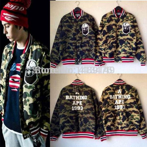 2014 winter bape brand men down jacket Parka shark windbreaker baseball camouflage camo outwear thick coat outwear(China (Mainland))