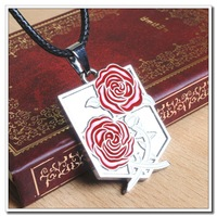 Hot sale Attack On Titan Rose Flower Stainless steel Comics Movie Game Cartoon RetroVintage Chain Necklace PendantCarving(WX069)