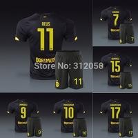 14 15 Borussia Dortmund away black soccer jersey and short uniforms REUS KAGAWA GUNDOGAN HUMMELS IMMOBILE MKHITARYAN AUBAMEYANG