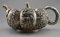 Collectible Decorated Old Handwork Tibet Silver Pumpkin Immortal Child Teapot Statue free SHIPPING