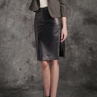 14 sheepskin ultra soft suede leather skirt rivet placketing slim hip bust skirt