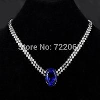 Sapphire necklace madam 925 Silver  main stone size 12X14  spot goods