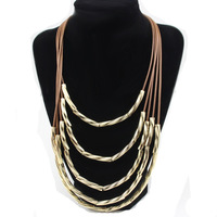 Punk leather chain Multilayer copper tube necklace/2014 new fashion necklace jewelry for women