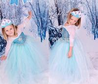 Best-selling Frozen Princess Dresses Girls Mesh Cloak Dresses Long sleeve Lace Very beautiful children dress Party 2Y-7Y