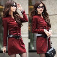 2014 autumn women's ol elegant slim V-neck slim hip spring and autumn long-sleeve dress