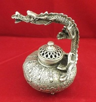 Chinese old Tibet silver copper dragon Incense Burners FREE SHIPPING