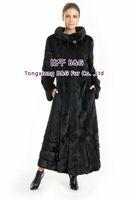 BG70728 Russian Style Genuine Mink Fur Long Coat Black Beauty Garment Open Fork Big Size Customize