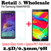 Free Shipping Premium Tempered Glass Screen Protector For Samsung Galaxy Note 4 N9100 Protective Film With Retail Package 2.5D