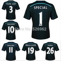 Free ShipTop2014 15 Soccer Jersey Chelsea Men's Black 2nd Away Kit Jersey Terry Hazard Filipe Luis Diego Costa Best Thai Quality