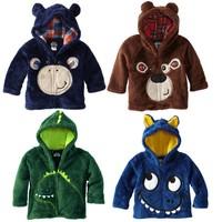 CS047 Free shipping 2014 new KNB children cartoon coat boys animals long sleeve outerwear coral kids zipper hoodie jacket retail