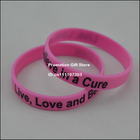 Printed Live, Love and Believe in a cure Silicon Wristband, Silicon Bracelet for Cancer Awareness, 100PCS/Lot, Free Shipping