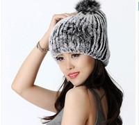 2014 Winter Women's Genuine Rex Rabbit Fur Hats Ball Female Warm Caps Lady Beanies Skullies Beanies