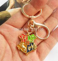 20pcs/lot Wholesale Fashion Gold Charm Harry Potter Hogwarts School Pendant Key Chains