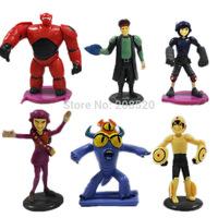 Wholesale 8sets/lot (6pcs/set) New Marvel Movie Big Hero 6 Hiro Baymax Fred Go Go Tomago Honey lemon Toys PVC Action Figures