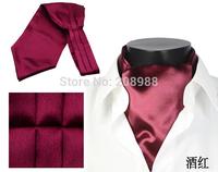 Fashion Polyester Men's Ascot Tie Solid Color Cravat Tie Necktie Free Shipping #1753
