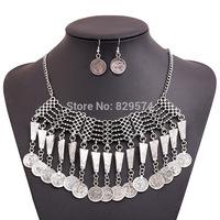 Brand Jewelry Coin Collar Tassels Chain Necklace Bohemian Vintage Choker Statement Jewelry Set Handcraft Ethnic Turkish Necklace