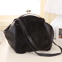 New arrival rabbit fur and PU winter bag clip design chain bag Women's handbag/shourlder bag/ rabbit fur bag WLHB862