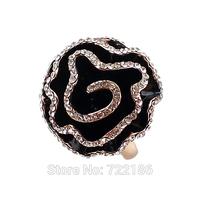 New Fashion Flower Shape Enamel Rhienstone Gold Color Alloy Wedding Finger Rings For Women
