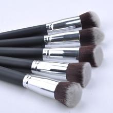 10 pcs silver Synthetic Kabuki Makeup Brush Set Cosmetics Foundation blending blush makeup tool FYMPJ412#Y5