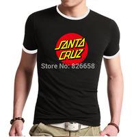 Top Quality Men t shirts Famous Santa Cruz tshirt Design Short Sleeve Funny Ringer t-shirt Santa Cruz Skateboarding T Shirt