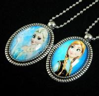 Wholeslae 12pcs Frozen Glass Pendant Necklace, Anna Lisa Princess Christmas Jewelry.Free Shipping