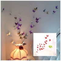 Free shipping  Creative DIY 3D Three-Dimensional Butterfly  Wall Poster Sticker for Home Decoration New Years Gift 20pcs/lot