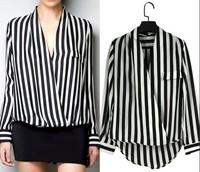 European Style V-Neck  Stripe Chiffon Shirts