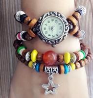 Fashion & casual high quality retro bracelet watch students watch the stars bead bracelet women's Dress Watches