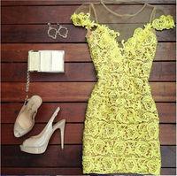 2014 New Women Dress Yellow lace mini Casual Vestido De Festa dress roupas femininas vestidos casual free shipping