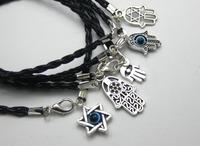 20 Mixed Kabbalah Hamsa Hand Charms Black Leatheroid Braided String Bracelets