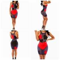 Novelty Black & Red Patchwork Sexy Bandage Dress Women Girl Sleeveless Bodycon Nightclub Fashion Mini Wrap Lace Club Dress