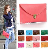 200PCS 2014 Hot selling vintage bag chain envelope bag ladies PU leather bags women handbag day clutch women messenger bags