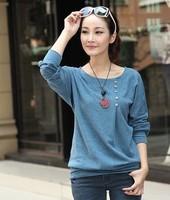2014 plus size clothing autumn top long-sleeve basic loose t-shirt