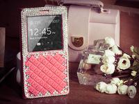 Luxury Bling Rhinestone Diamond case for samsung galaxy Note 3 Original SView Window Sleep Function Flip Leather Back Cover Case