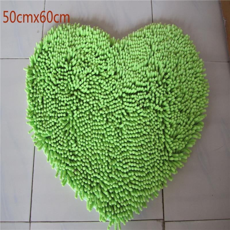 O envio gratuito de 50 cm * 60 cm da forma do coração Chenille tapete moderno tapete felpudo tapete capacho tapete sala de estar tapetes tapete(China (Mainland))