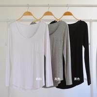 Women Basic V-Neck t shirt blusas Long Sleeve Loose Casual Modal Cotton T-shirt Blouse Tops blusas femininas Plus Size