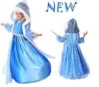 BB058 Free shipping Frozen Girl Summer Dress Elsa Anna Princess Dress Children's Christmas Cosplay Long Dress Baby Dress Retail