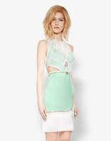 Advanced customization mint green macarons color zipper dress/ vestido casual dress