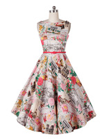 New 50s Retro Flowers Scenery Print Word Collar Pinup Rockabilly Party Birthday Prom Boat Neck Swing Dress XS - XL