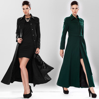 2014 fashion high end quality women winter warm turn down plain color black / green woolen overcoat trench coat