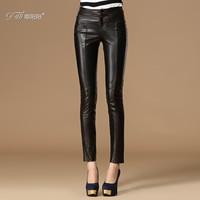 2014 sheepskin genuine leather pants trousers fashion pencil pants slim skinny pants